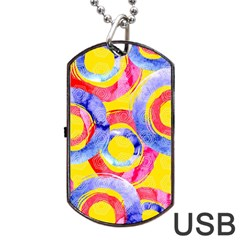Blue And Pink Dream Dog Tag Usb Flash (two Sides)