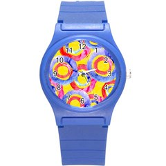 Blue And Pink Dream Round Plastic Sport Watch (s) by DanaeStudio
