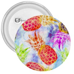 Colorful Pineapples Over A Blue Background 3  Buttons