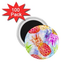 Colorful Pineapples Over A Blue Background 1 75  Magnets (100 Pack)
