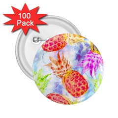 Colorful Pineapples Over A Blue Background 2 25  Buttons (100 Pack)