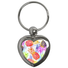 Colorful Pineapples Over A Blue Background Key Chains (heart)  by DanaeStudio