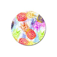 Colorful Pineapples Over A Blue Background Magnet 3  (round)