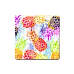 Colorful Pineapples Over A Blue Background Square Magnet