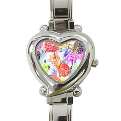 Colorful Pineapples Over A Blue Background Heart Italian Charm Watch