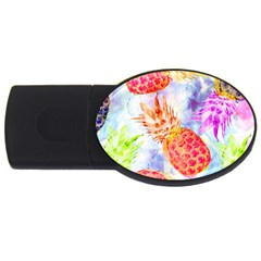 Colorful Pineapples Over A Blue Background Usb Flash Drive Oval (4 Gb)