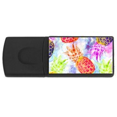 Colorful Pineapples Over A Blue Background Usb Flash Drive Rectangular (4 Gb)  by DanaeStudio