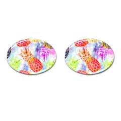 Colorful Pineapples Over A Blue Background Cufflinks (oval) by DanaeStudio