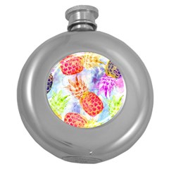 Colorful Pineapples Over A Blue Background Round Hip Flask (5 Oz)