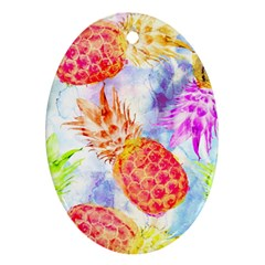 Colorful Pineapples Over A Blue Background Oval Ornament (two Sides) by DanaeStudio