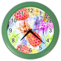 Colorful Pineapples Over A Blue Background Color Wall Clocks by DanaeStudio