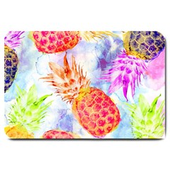 Colorful Pineapples Over A Blue Background Large Doormat  by DanaeStudio