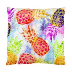 Colorful Pineapples Over A Blue Background Standard Cushion Case (one Side) by DanaeStudio