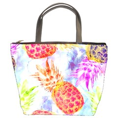 Colorful Pineapples Over A Blue Background Bucket Bags by DanaeStudio