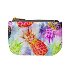 Colorful Pineapples Over A Blue Background Mini Coin Purses