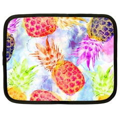Colorful Pineapples Over A Blue Background Netbook Case (xl)  by DanaeStudio