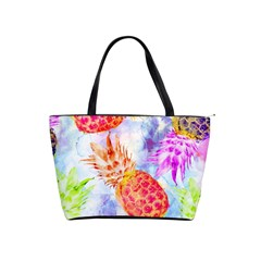 Colorful Pineapples Over A Blue Background Shoulder Handbags