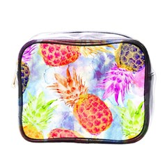 Colorful Pineapples Over A Blue Background Mini Toiletries Bags