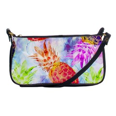 Colorful Pineapples Over A Blue Background Shoulder Clutch Bags