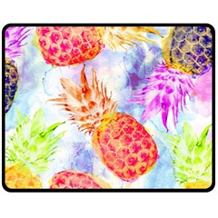 Colorful Pineapples Over A Blue Background Fleece Blanket (medium)