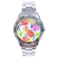 Colorful Pineapples Over A Blue Background Stainless Steel Analogue Watch