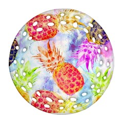 Colorful Pineapples Over A Blue Background Round Filigree Ornament (2side)