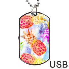 Colorful Pineapples Over A Blue Background Dog Tag Usb Flash (one Side)