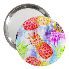 Colorful Pineapples Over A Blue Background 3  Handbag Mirrors