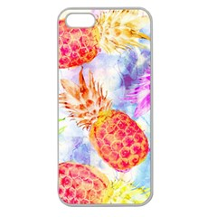 Colorful Pineapples Over A Blue Background Apple Seamless Iphone 5 Case (clear) by DanaeStudio