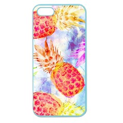 Colorful Pineapples Over A Blue Background Apple Seamless Iphone 5 Case (color) by DanaeStudio
