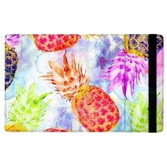 Colorful Pineapples Over A Blue Background Apple Ipad 2 Flip Case by DanaeStudio