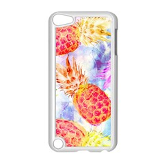 Colorful Pineapples Over A Blue Background Apple Ipod Touch 5 Case (white)