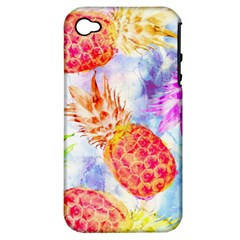 Colorful Pineapples Over A Blue Background Apple Iphone 4/4s Hardshell Case (pc+silicone)