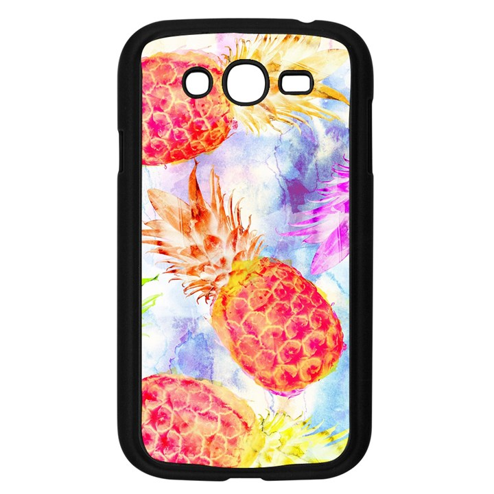 Colorful Pineapples Over A Blue Background Samsung Galaxy Grand DUOS I9082 Case (Black)