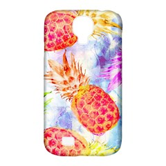 Colorful Pineapples Over A Blue Background Samsung Galaxy S4 Classic Hardshell Case (pc+silicone)
