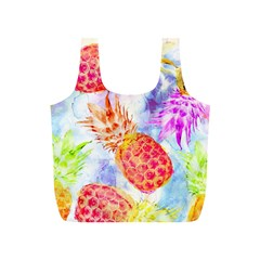 Colorful Pineapples Over A Blue Background Full Print Recycle Bags (s)  by DanaeStudio