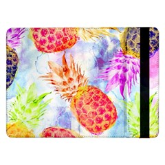 Colorful Pineapples Over A Blue Background Samsung Galaxy Tab Pro 12 2  Flip Case by DanaeStudio