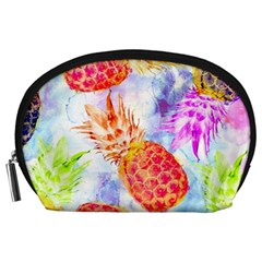 Colorful Pineapples Over A Blue Background Accessory Pouches (large)