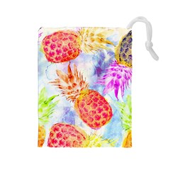 Colorful Pineapples Over A Blue Background Drawstring Pouches (large)  by DanaeStudio