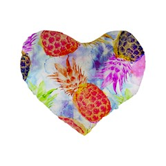 Colorful Pineapples Over A Blue Background Standard 16  Premium Flano Heart Shape Cushions by DanaeStudio