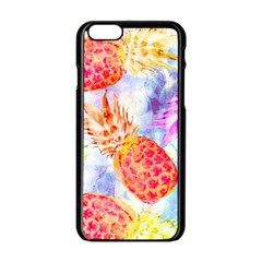 Colorful Pineapples Over A Blue Background Apple Iphone 6/6s Black Enamel Case