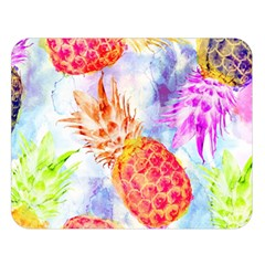 Colorful Pineapples Over A Blue Background Double Sided Flano Blanket (large)