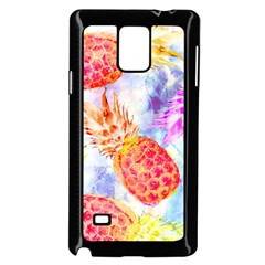 Colorful Pineapples Over A Blue Background Samsung Galaxy Note 4 Case (black) by DanaeStudio