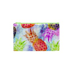 Colorful Pineapples Over A Blue Background Cosmetic Bag (xs)