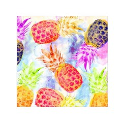 Colorful Pineapples Over A Blue Background Small Satin Scarf (square) by DanaeStudio