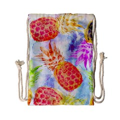 Colorful Pineapples Over A Blue Background Drawstring Bag (small) by DanaeStudio