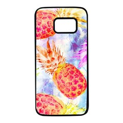Colorful Pineapples Over A Blue Background Samsung Galaxy S7 Black Seamless Case