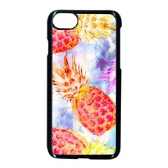 Colorful Pineapples Over A Blue Background Apple Iphone 7 Seamless Case (black)