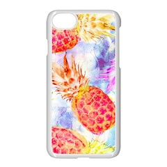 Colorful Pineapples Over A Blue Background Apple Iphone 7 Seamless Case (white) by DanaeStudio