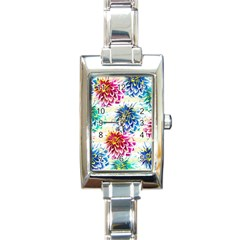 Colorful Dahlias Rectangle Italian Charm Watch by DanaeStudio